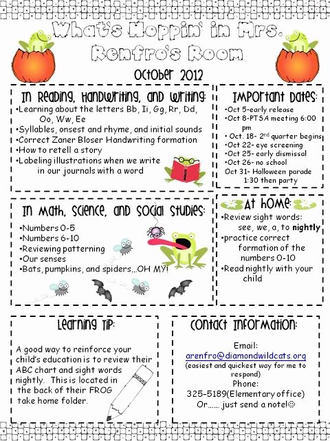 Newsletter for Preschool Parents Template Fresh Best 25 Kindergarten Newsletter Ideas On Pinterest