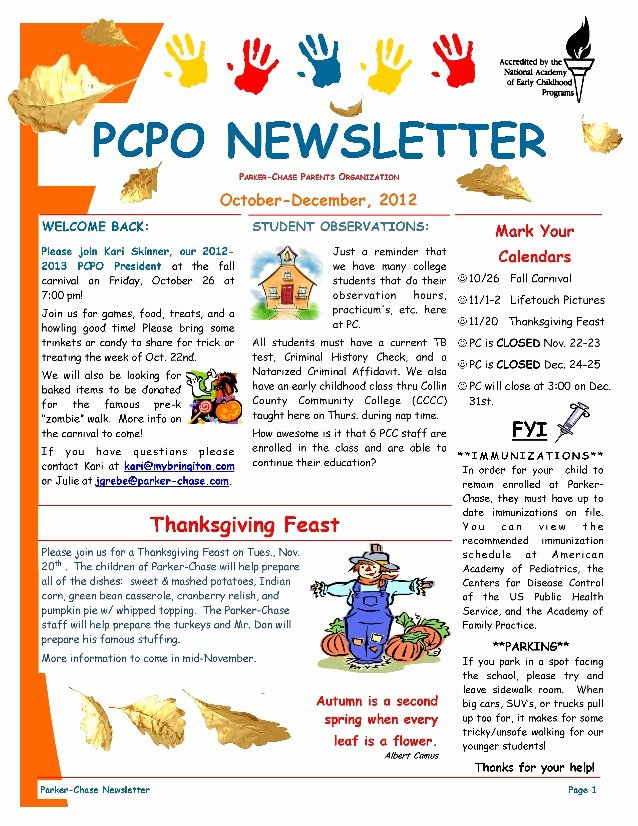 Newsletter for Preschool Parents Template Fresh Pcpo October December 2012 Newsletter