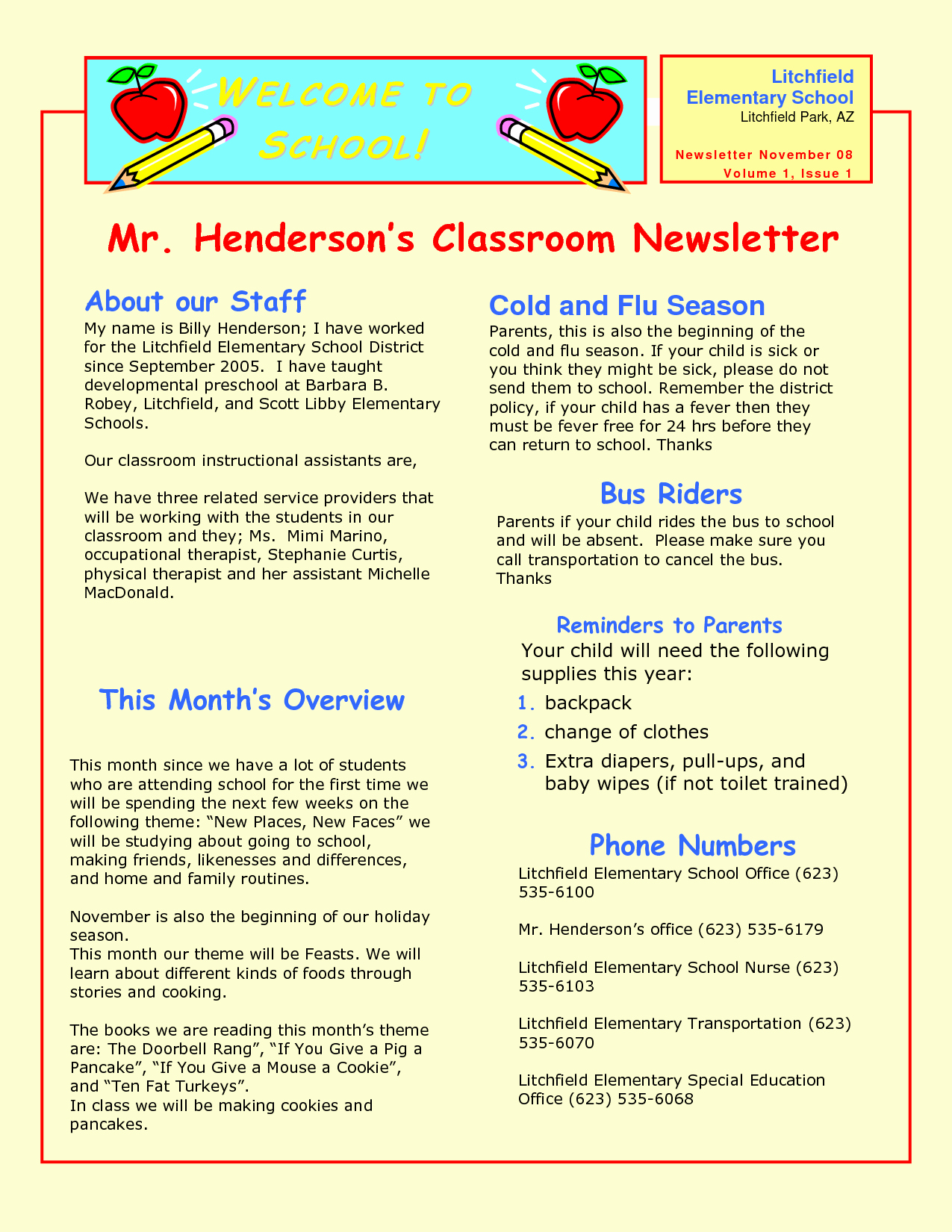 Newsletter for Preschool Parents Template Fresh Preschool Newsletter Samples