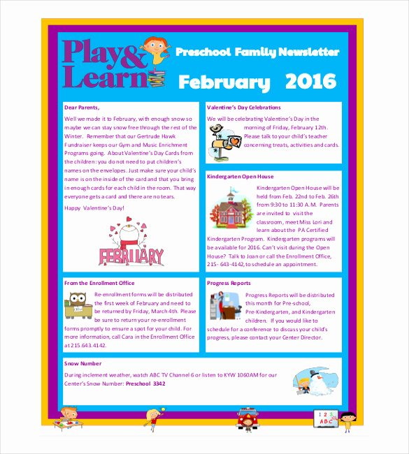 Newsletter for Preschool Parents Template Inspirational 10 Preschool Newsletter Templates – Free Sample Example