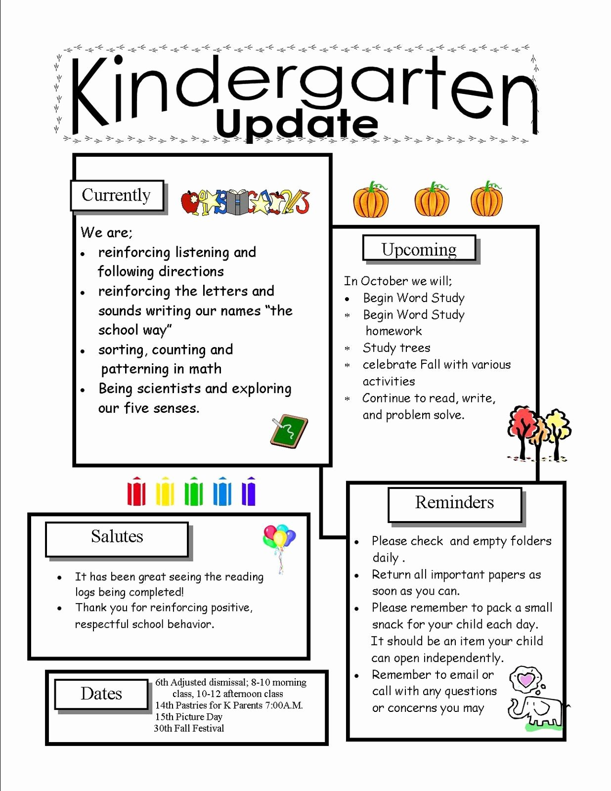 Newsletter for Preschool Parents Template Lovely Kindergarten Newsletter Templates for Free