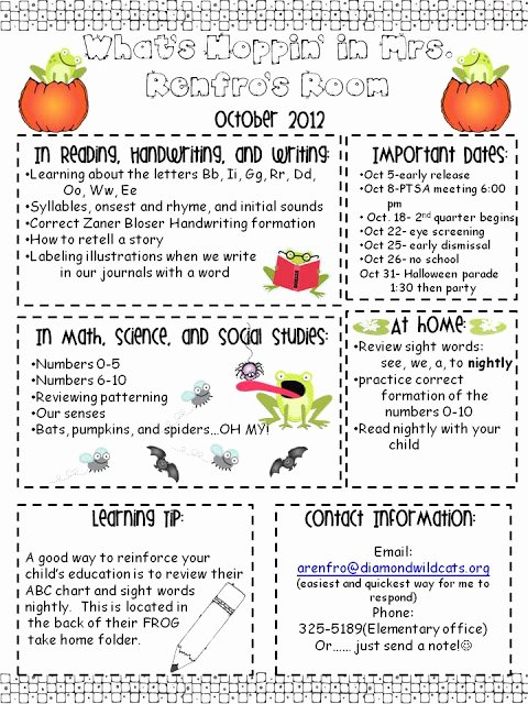 Newsletter for Preschool Parents Template Lovely Kindergarten Times October Newsletter