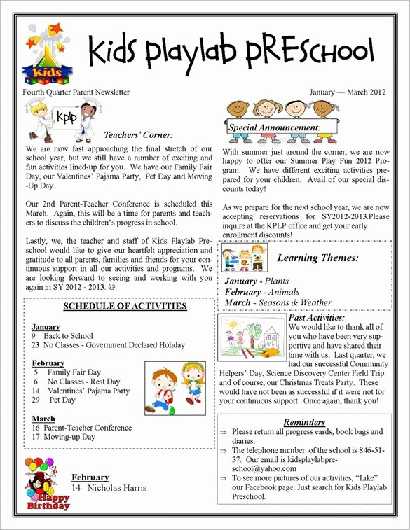 Newsletter for Preschool Parents Template Luxury 13 Printable Preschool Newsletter Templates – Free Word