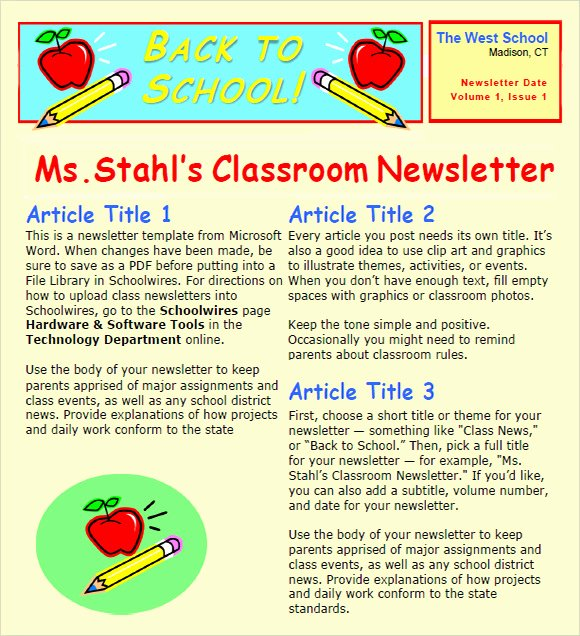 Newsletter for Preschool Parents Template Luxury 6 Sample Classroom Newsletters