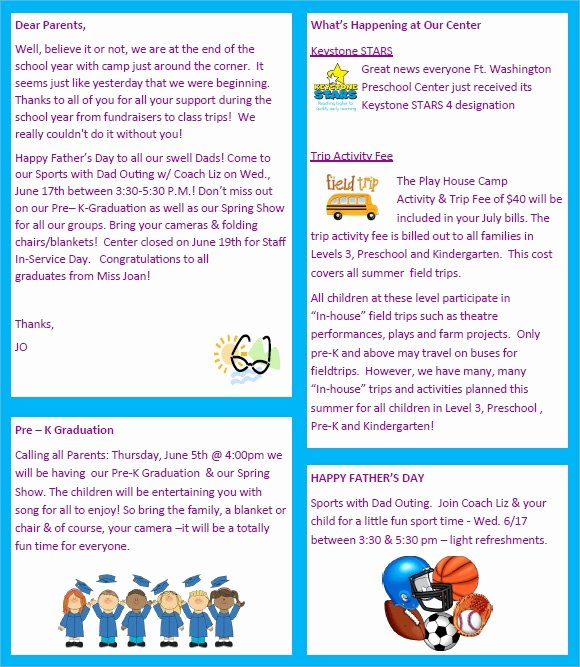 Newsletter for Preschool Parents Template Luxury Sample Preschool Newsletter 8 Free Download for Word Pdf