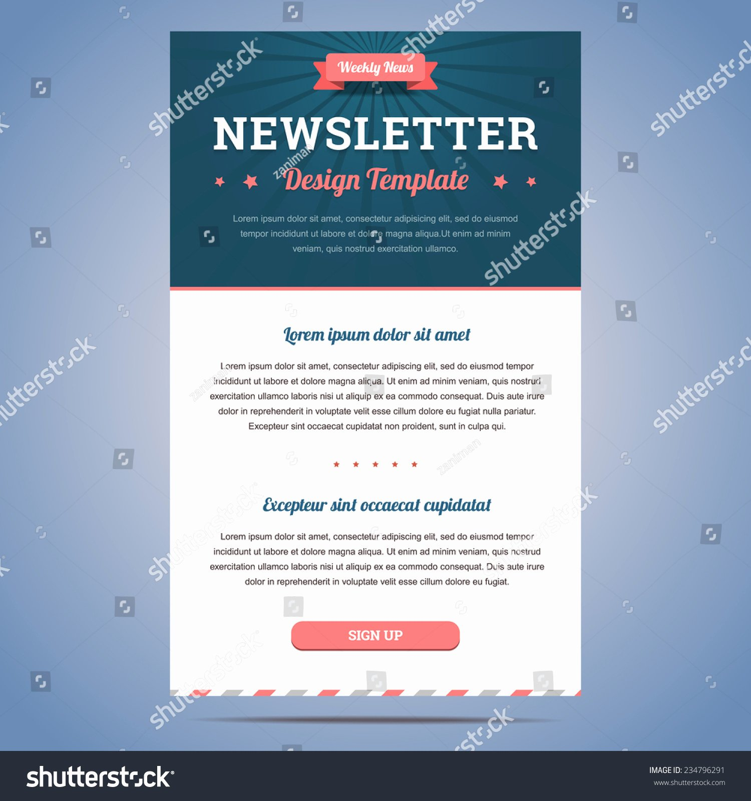 Newsletter Sign Up Template Beautiful Royalty Free Newsletter Design Template for Weekly