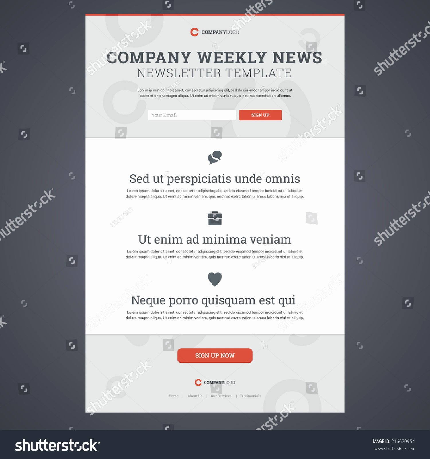 Newsletter Sign Up Template Elegant Pany News Newsletter Template Sign form Stock Vector