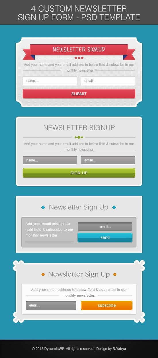 Newsletter Sign Up Template Inspirational Free Psd Signup form Template From Dynamicwp