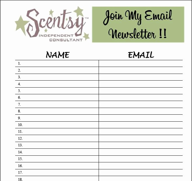 Newsletter Sign Up Template Lovely Free Sign Up Sheet Template