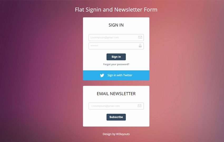 Newsletter Signup form Template Fresh Flat Signin and Newsletter form Responsive Wid Template