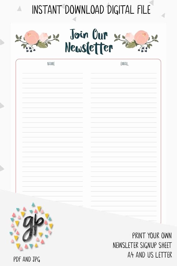 Newsletter Signup form Template New Newsletter Signup Sheet Email Subscription List Handmade
