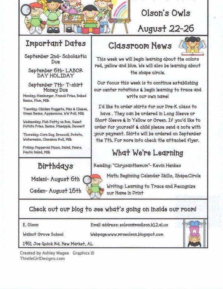 Newsletter Template for Preschool Elegant 1000 Ideas About Preschool Newsletter Templates On
