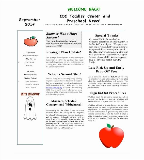 Newsletter Template for Preschool Elegant 9 Monthly Newsletter Templates Free Sample Example