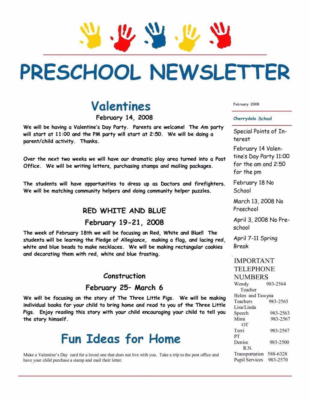 Newsletter Template for Preschool Elegant Madeira Line