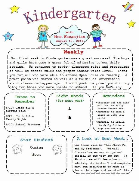 Newsletter Template for Preschool Inspirational Best 10 Kindergarten Newsletter Ideas On Pinterest