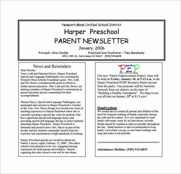 Newsletter Template for Preschool Lovely 13 Printable Preschool Newsletter Templates Pdf Doc