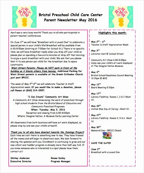Newsletter Template for Preschool Lovely 6 Best Preschool Newsletter Templates to Download