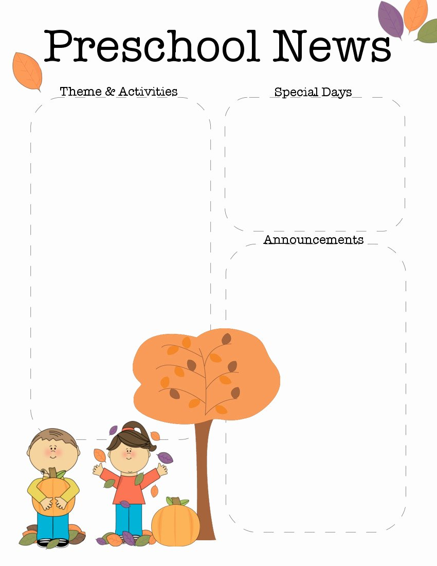 Newsletter Template for Preschool New October Preschool Newsletter Template