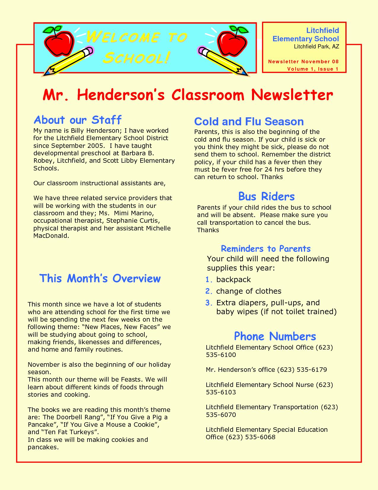 Newsletter Template for Preschool New Preschool Newsletter Samples
