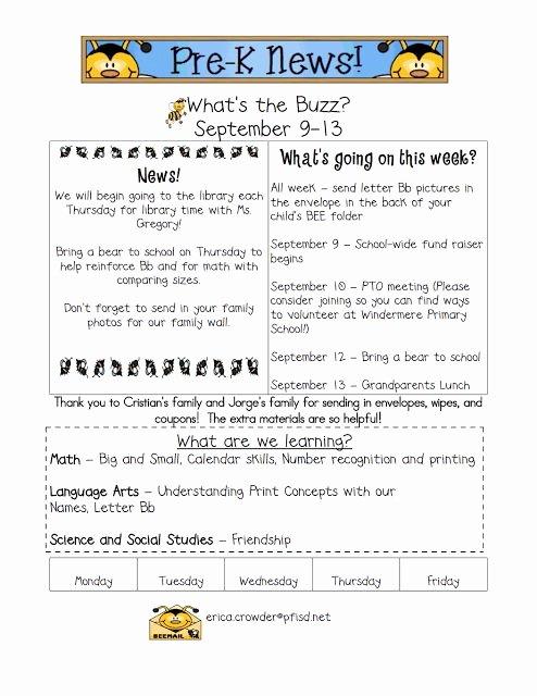 Newsletter Template for Preschool Unique Best 25 Kindergarten Newsletter Ideas On Pinterest