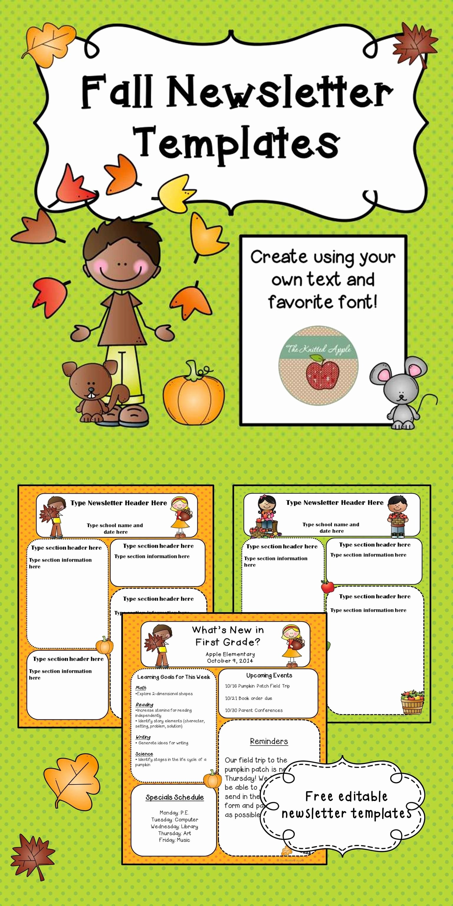 Newsletter Template for Preschool Unique Fall Newsletter Templates Freebie Pre K