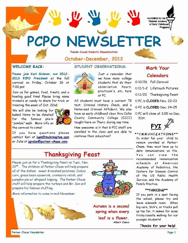 Newsletter Template for Preschool Unique Pcpo October December 2012 Newsletter