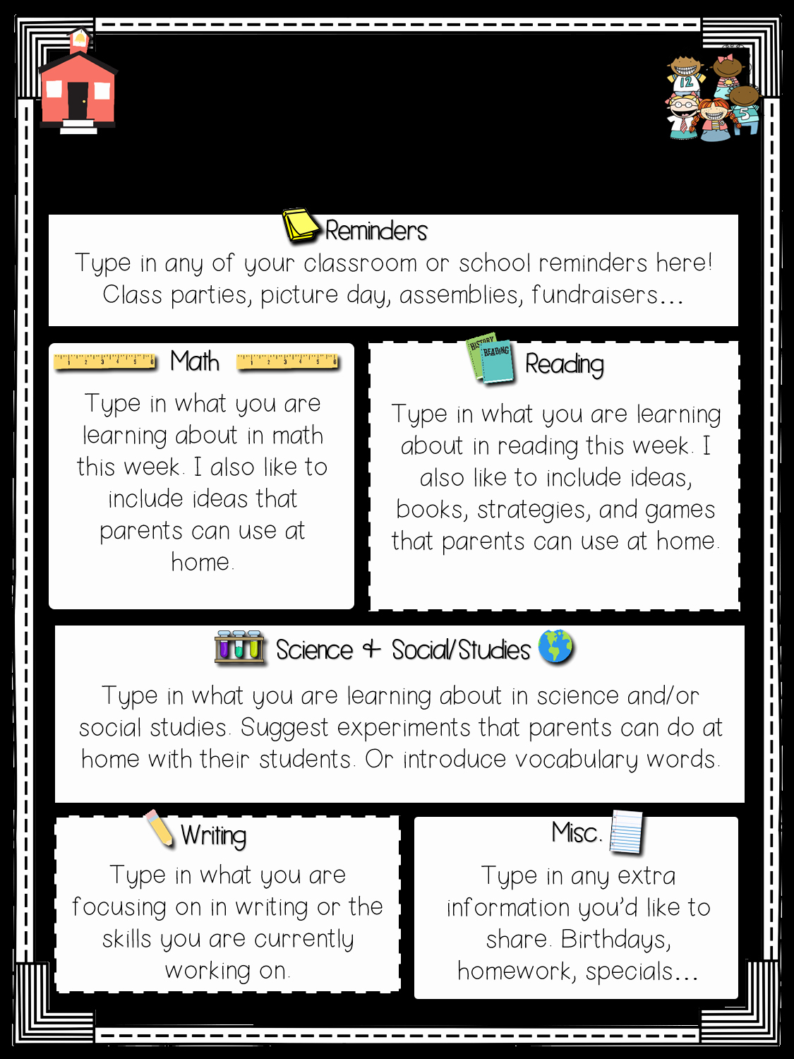 Newsletter Template for Teachers Best Of Primary Chalkboard Class Newsletters Freebie Included