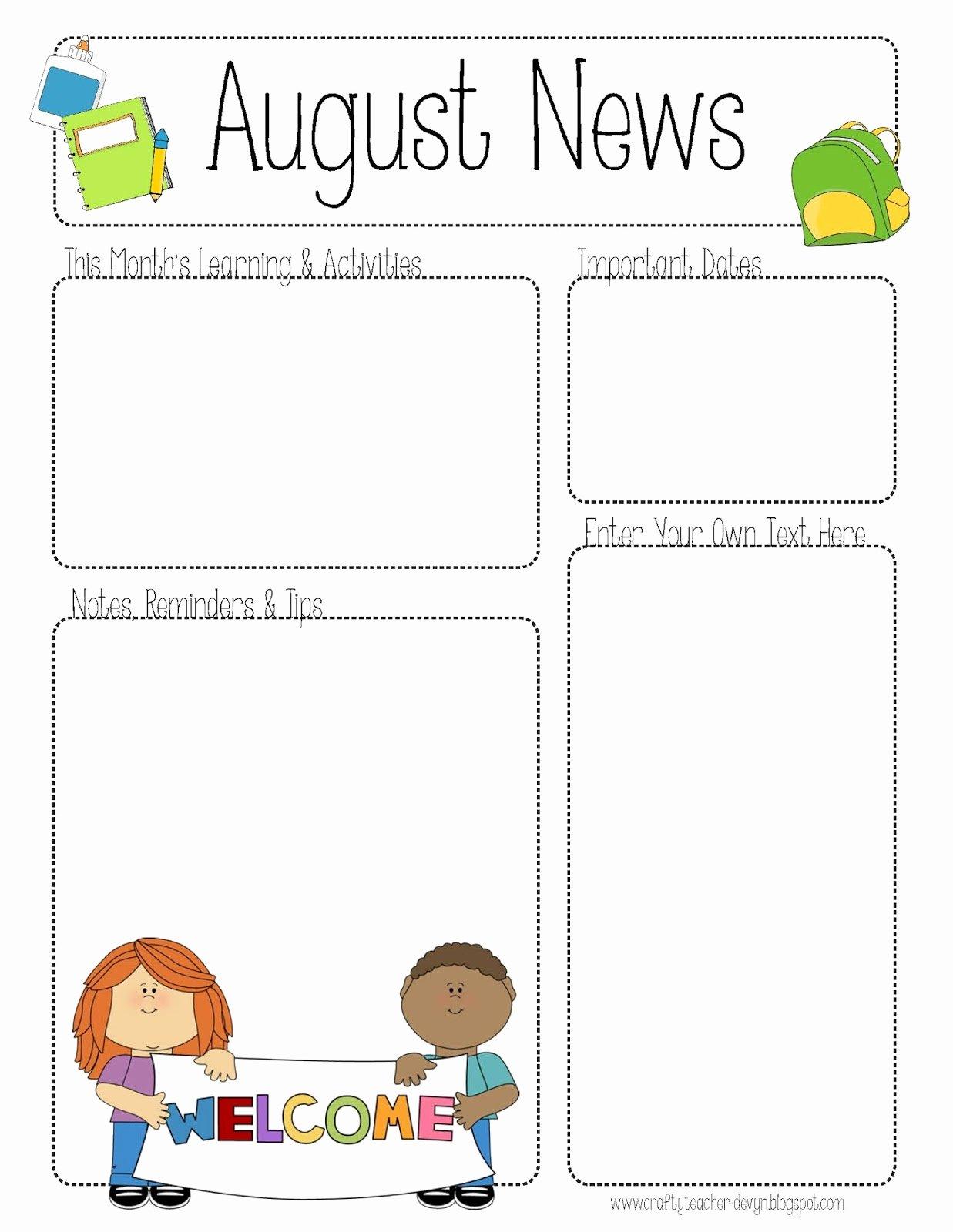 Newsletter Template for Teachers Elegant Free Teacher Newsletter Templates Printable