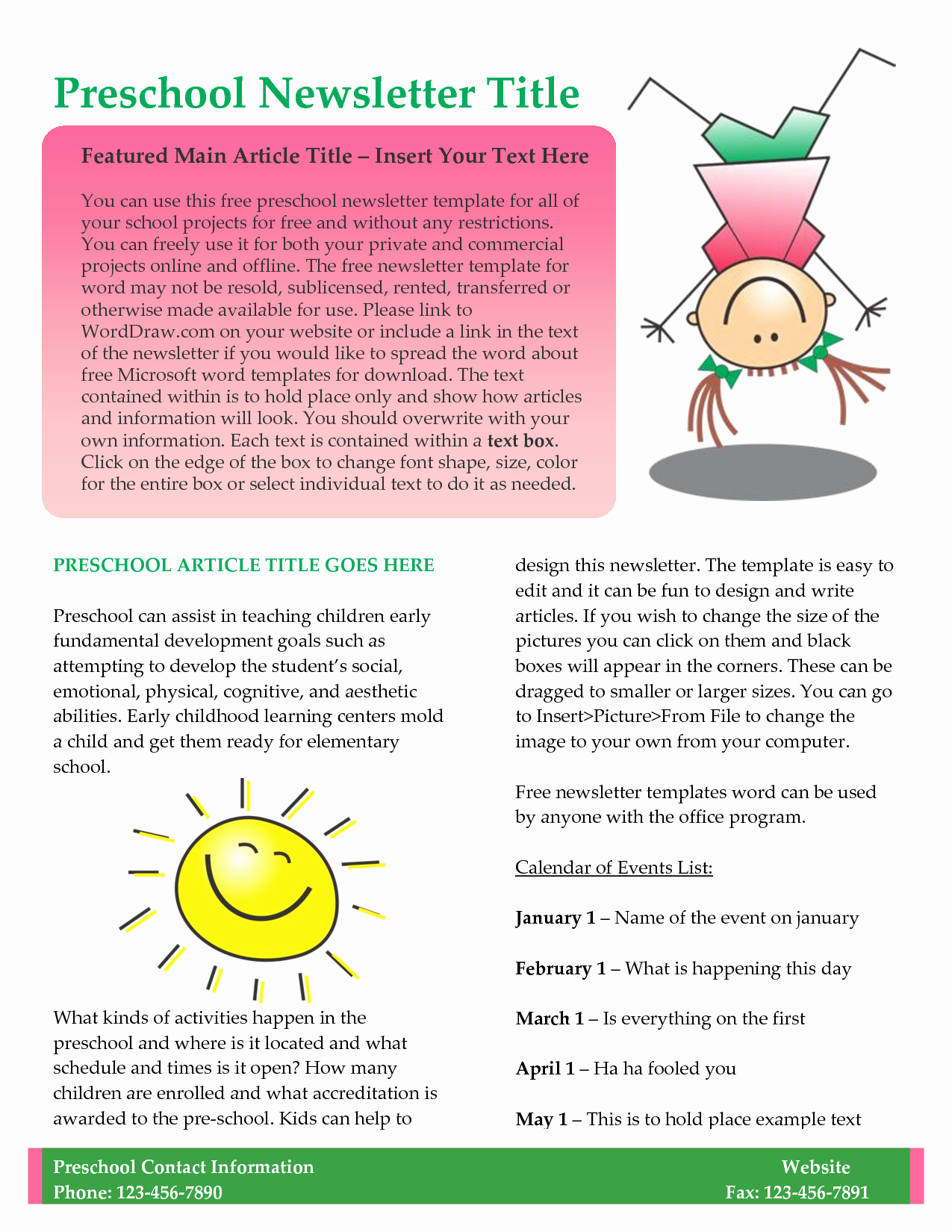 Newsletter Template for Teachers Elegant Preschool Newsletter Template