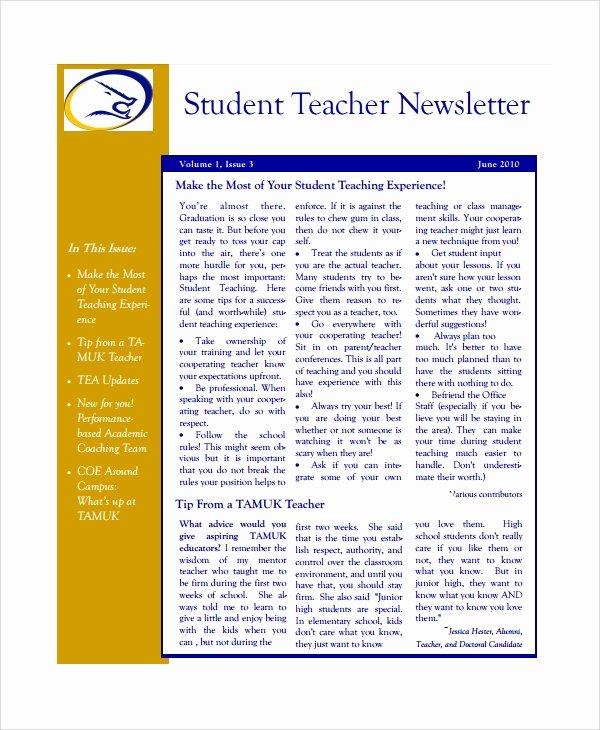 Newsletter Template for Teachers Inspirational 7 Teacher Newsletter Templates