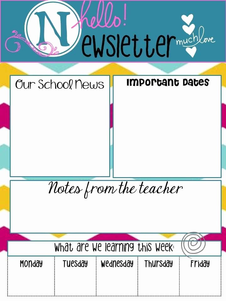 "Newsletter Template for Teachers Inspirational School Newsletters Say ""hello"""