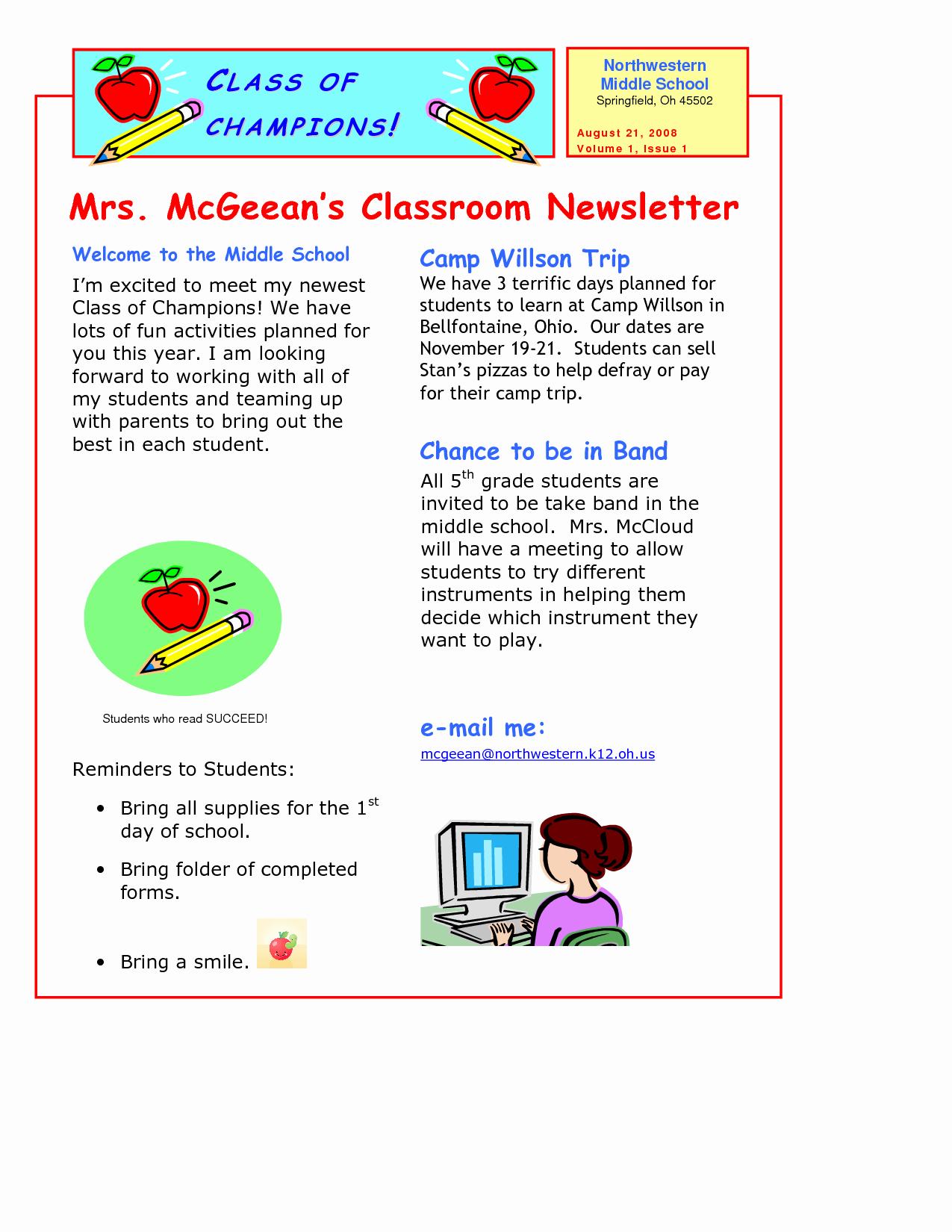 Newsletter Template for Teachers Lovely Classroom Newsletter Template