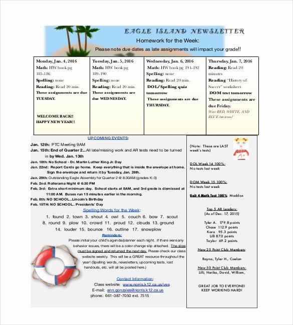 Newsletter Template for Teachers Luxury 9 Teacher Newsletter Templates – Free Sample Example