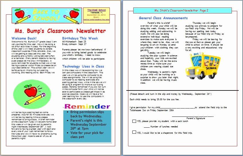 Newsletter Template for Teachers Luxury Free Editable Newsletter Templates for Teachers