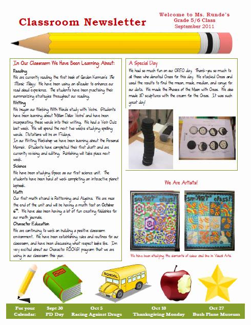 Newsletter Template for Teachers Luxury Runde S Room My New Classroom Newsletter