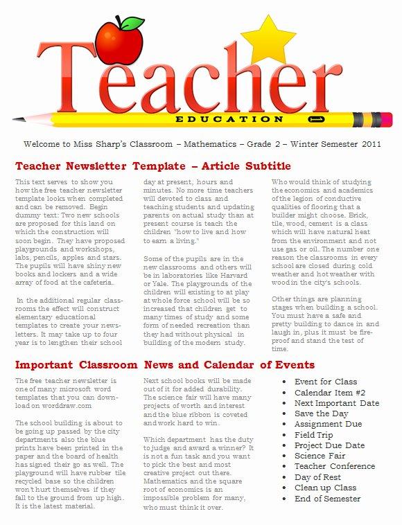 Newsletter Template for Teachers New 20 Fantastic Printable Newsletter Templates