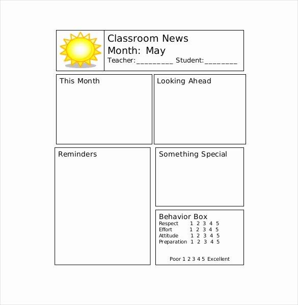 Newsletter Template for Teachers Unique 9 Teacher Newsletter Templates – Free Sample Example