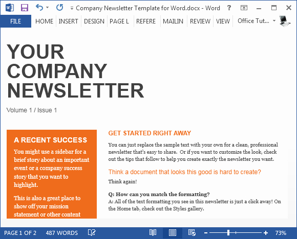 Newsletter Template for Word Beautiful Free Pany Newsletter Template for Word