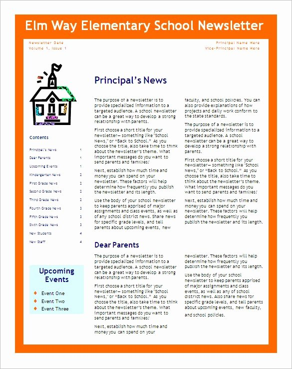 Newsletter Template for Word Inspirational School Newsletter Templates
