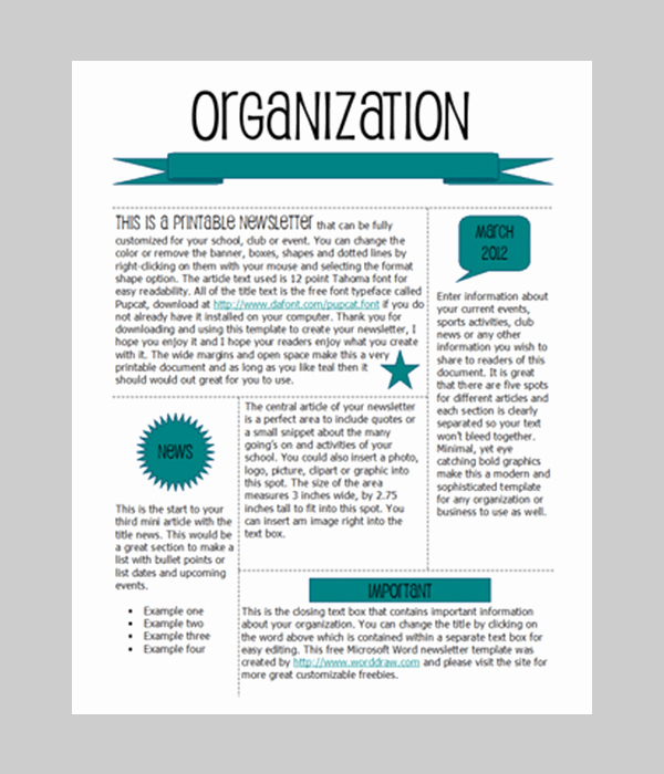 Newsletter Template for Word Lovely 6 Free Newsletter Word Templates Excel Pdf formats