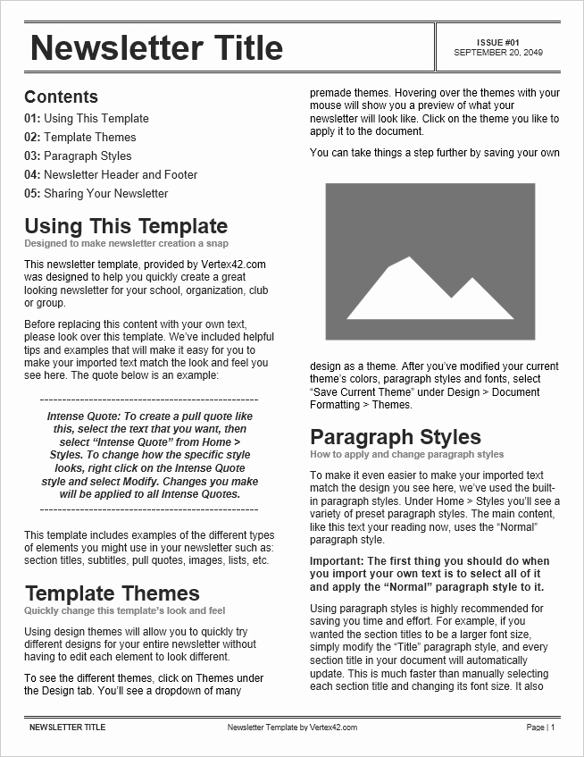 Newsletter Template Microsoft Word Elegant Free Newsletter Templates for Word