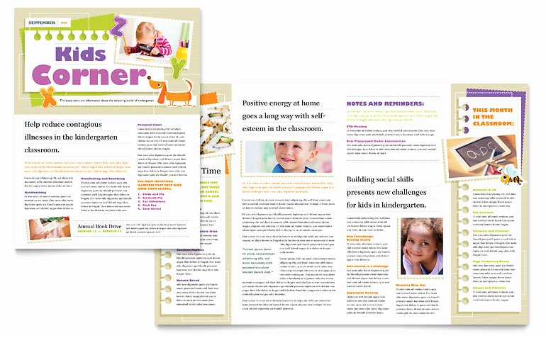 Newsletter Template Microsoft Word Elegant Kindergarten Newsletter Template Word & Publisher
