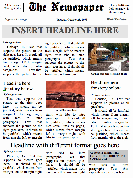 Newspaper Template for Microsoft Word Awesome Newspaper Templates –