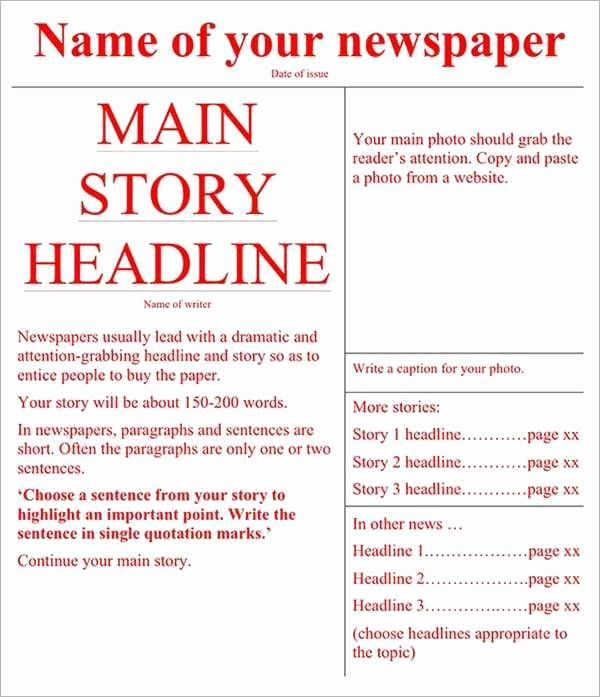 Newspaper Template for Microsoft Word Beautiful 9 Newspaper Templates Word Excel Pdf formats