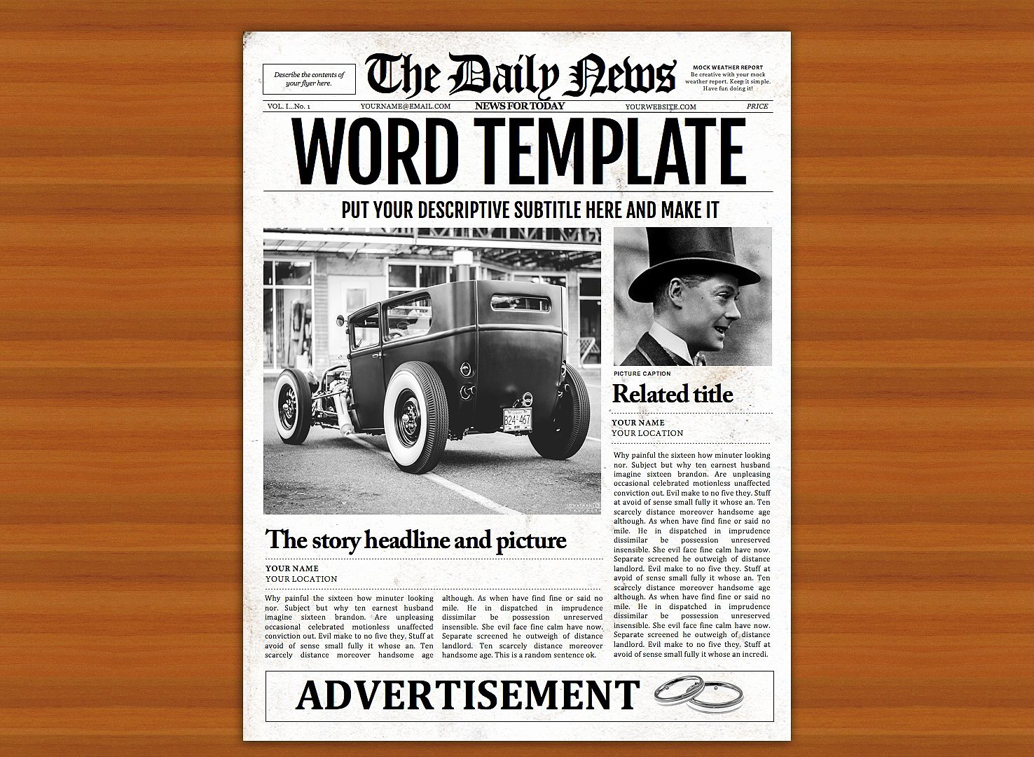 Newspaper Template for Microsoft Word Lovely Vintage Word Newspaper Template Flyer Templates