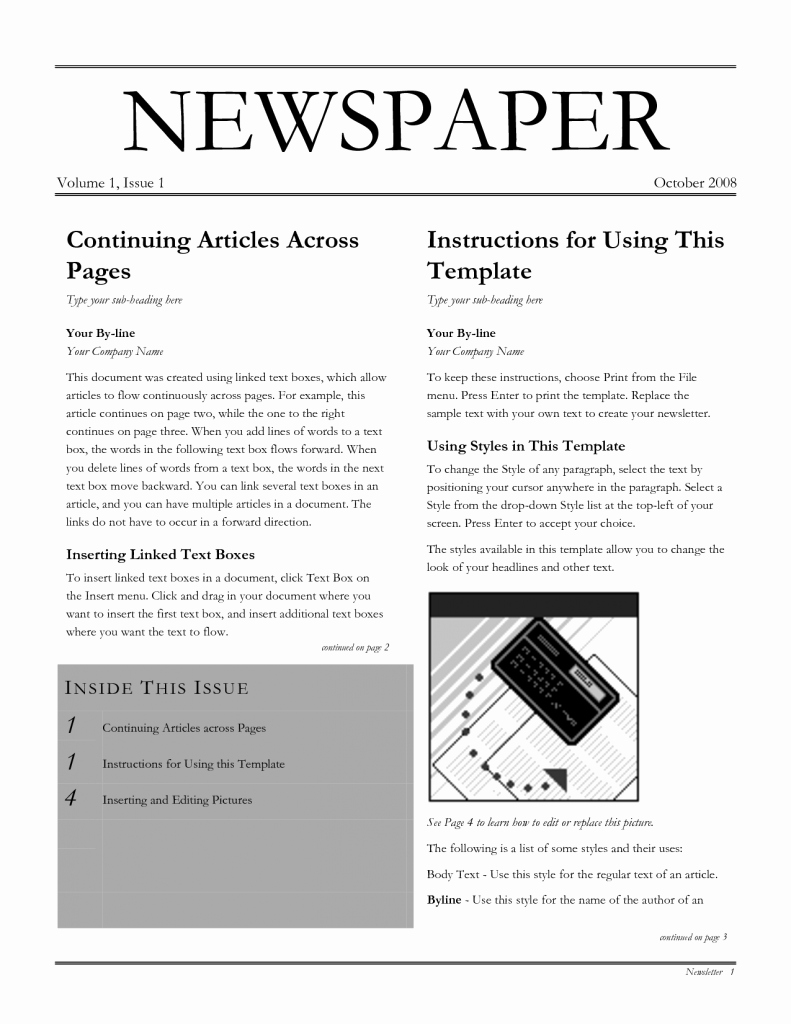 Newspaper Template for Microsoft Word Luxury 26 Newspaper Templates Free Word Pdf Psd Indesign
