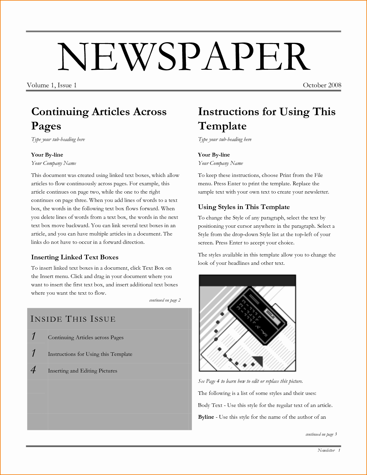 Newspaper Template for Microsoft Word New 6 Newspaper Template Word