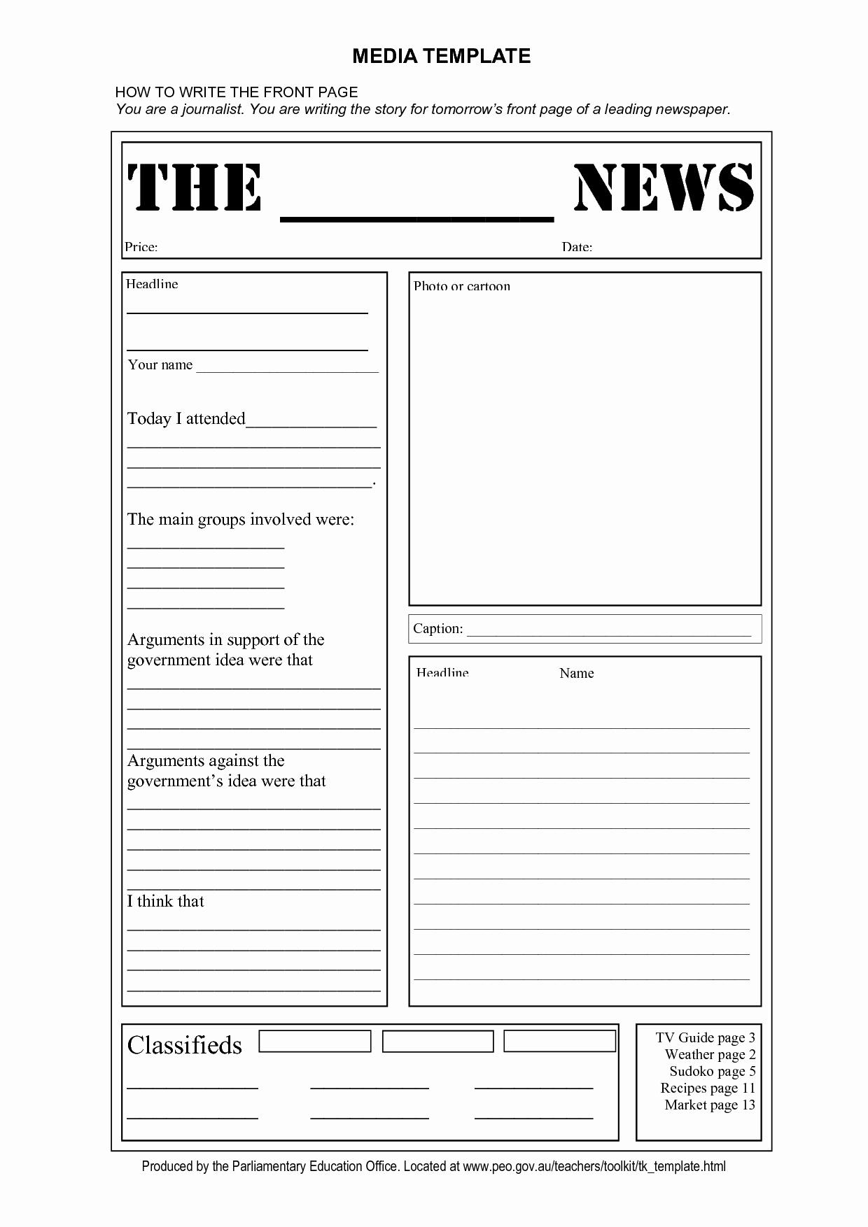 Newspaper Template for Microsoft Word New Blank Newspaper Template