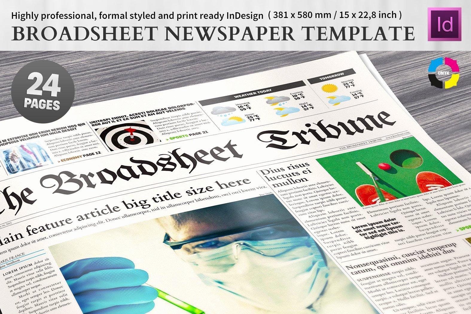 Newspaper Template Indesign Free Beautiful Broadsheet Newspaper Template Magazine Templates
