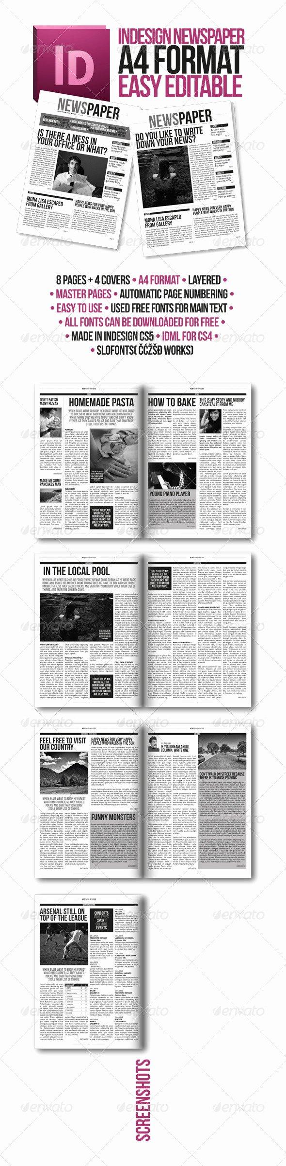 Newspaper Template Indesign Free Beautiful Indesign Modern Newspaper Magazine Template A4 by Zigazi83